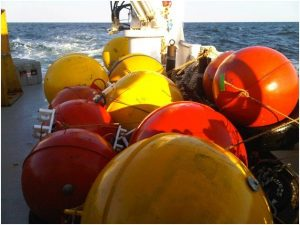 A series of buoy and anchors to be used for mooring deployments during a physical oceanography cruise on the RV Pelican. Connected instruments on each line will record pressure, temperature, salinity and velocity. (Photo credit: N. Wienders FSU)