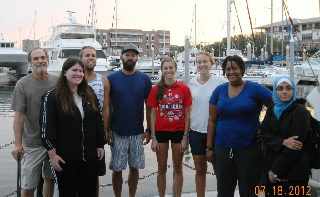 Deep-C geomorphology science cruise team for shallow shelf mapping. From L-R: Dr. Stan Locker (USF), graduate student Anastasia Nienow (Valdosta State University), graduate student Ryan Turnbull (FSU), Ph.D. student Shane Dunn (USF), Kaitlyn Toebe (UWF), Alex Valente (USF), undergraduate student Markietta Butler-Hill (FSU), and Ph.D. student Samira Danishgar (FSU). RV Bellows (Photo credit: Dave Kennedy)