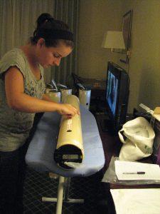 UM graduate student Ryan Schuster prepares 39 ocean profilers for an ocean-oriented flight during Hurricane Isaac (August 28, 2012). Photo credit: Jodi Brewster, UM-RSMAS