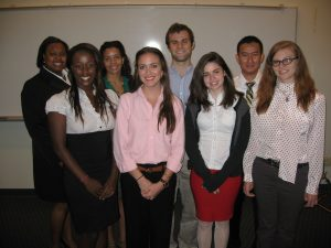 C-MEDS undergraduate interns presented their work at the 2012 Summer Research Academy Symposium.  From left to right, front row: Julie Kaiga, Elise Mills, Sinead Holleran, Melanie Sebastian; back row: Ta'Ryan Lloyd, Aurielle Modster, Brian Broom-Peltz, Steven Nguyen. Not pictured: Tyler Nesmith, Nicholas Altieri, and Rebecca Tamayo. Photo Credit: David Maag, Tulane