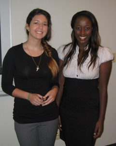 (L-R) Undergraduate interns Rebecca Tamayo and Julie Kaiga presented their dispersants research at the 2012 Summer Research Academy Symposium and created a C-MEDS Tumblr page as part of their internship. (Photo credit: David Magg)