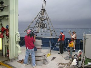 Multicorer deployment in November 2010, near the Macondo wellhead, also on RV Atlantis.