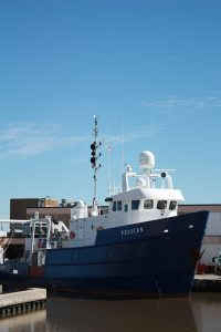 The R/V Pelican operates out of Cocodrie, LA and is owned by LUMCON. The Pelican is designated as a UNOLS vessel and is designed and outfitted to conduct a variety of oceanographic research missions. (Photo credit: LUMCON)