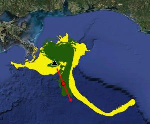 "This image incorporates LCS-core analysis data (in red) onto a simulation of the oil slick (in green) following the Deepwater Horizon oil spill. Data from the LCS-core analyses forecasted the subsequent formation and movement of the oil slick (in yellow) sometimes referred to as the ""tiger tail."" Image by Dr. Maria Josefina Olascoaga. Data acknowledgement to Geoffrey Samuels and the Center for Southeastern Tropical Advanced Remote Sensing (CSTARS) in Miami, FL."