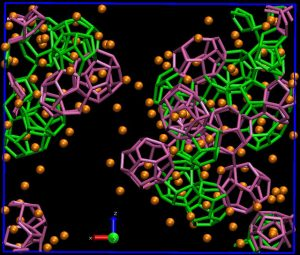 Snapshot of a molecular dynamics simulation of methane hydrate formation showing water cages consisting of twelve pentagonal faces (green), twelve pentagonal and two hexagonal faces (pink) and twelve pentagonal and three hexagonal faces (orange). Methane molecules are shown in orange spheres. Water molecules that do not form a cage are not shown. The temperature and pressure are 240K and 200 bar, respectively. (Picture courtesy of Dr. Sapna Sarupria)