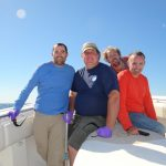 Sampling team in October 2012, left to right: Valentine; Nelson; Kellermann, Reddy. Credit: Chris Reddy, WHOI)
