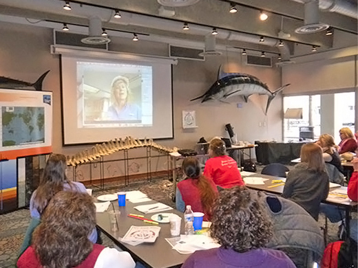 Dr. Teresa Greely Skypes with educators during a professional development session